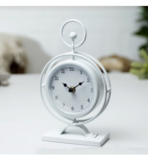 MTL. TABLE CLOCK WHT.