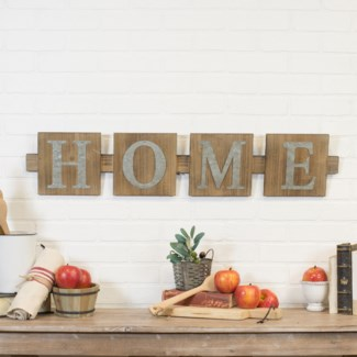 "WD. ""HOME"" WORD ART W/ MTL. LETTERS (4/cs)"