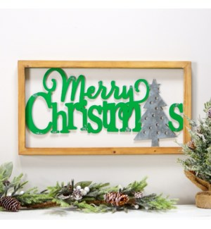 """MTL./WD. SIGN """"MERRY CHRISTMAS"""" GRN."""
