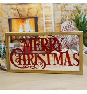 """MTL./WD. SIGN """"MERRY CHRISTMAS"""" RED"""