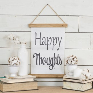 "|HANGING BANNER ""HAPPY THOUGHTS"" (24/cs)