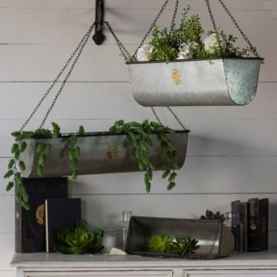 MTL. HANGING PLANT BASKETS SET/3