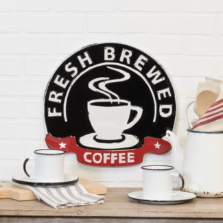 "MTL. SIGN ""FRESH BREWED"" (6/cs)"