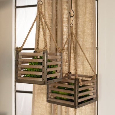 WD. HANGING CRATES S/2 (1/cs) (Available March  2019)