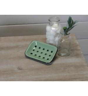 |MTL. ENAMELWARE SOAP DISH GREEN|