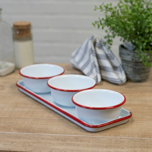 MTL. ENAMELWARE BOWLS W/ TRAY - RED