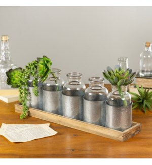 GLASS BOTTLES W/ WD. TRAY