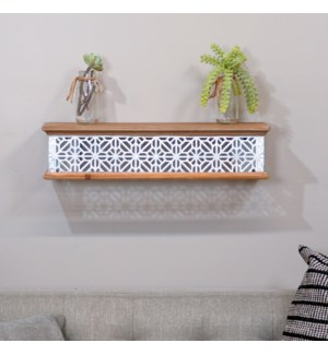 WD. SHELF W/MTL EMBOSSED LATTICE 24""