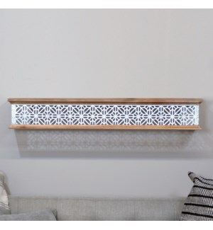 WD. SHELF W/MTL EMBOSSED LATTICE 36""