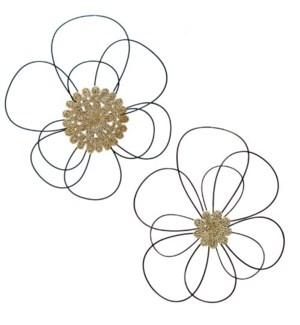 MTL. FLOWER WALL ART S/2