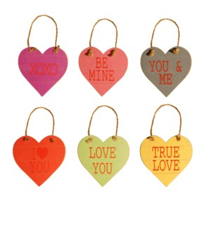 "|WD.5"" HEART TAGS WITH ROPE SET/6