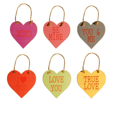 """ WD.5"""" HEART TAGS WITH ROPE SET/6  (40 sets/cs) """