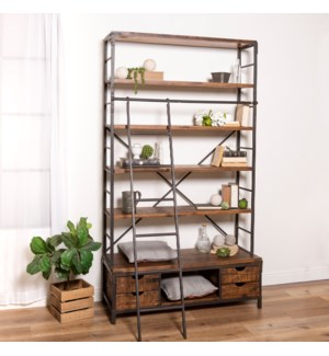 WD.BOOK SHELF W/MTL. LADDER
