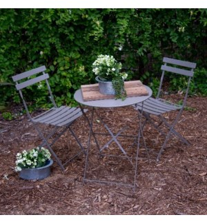 |MTL. BISTRO SET GRAY|