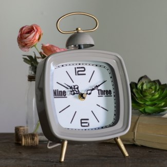 MTL. TABLE CLOCK GREY (8/cs)