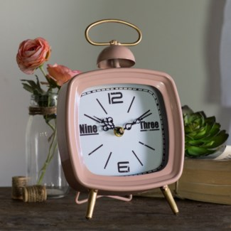 MTL. TABLE CLOCK PINK (12/cs)