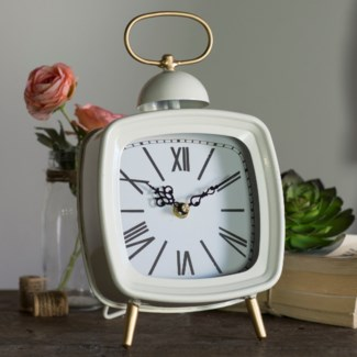 MTL. TABLE CLOCK WHITE (12/cs)