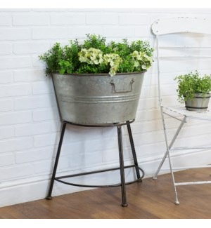 MTL. GALVANIZED HALF TUB ON STAND