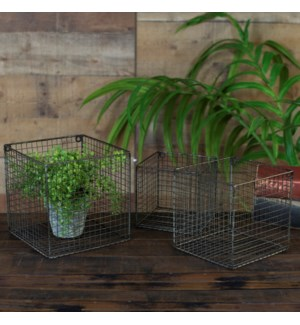|MTL. WALL BASKETS SET/3|