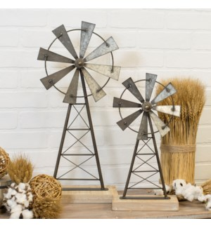 MTL./WD. WINDMILL DECOR SET/2