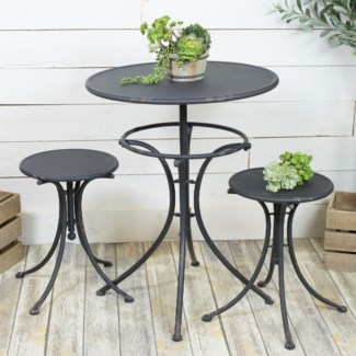 MTL. BISTRO SET BLACK (2cs/pc)