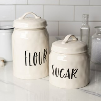 "CER. CANISTERS SET/2 ""FLOUR/SUGAR"" (Available Jan 2019)"
