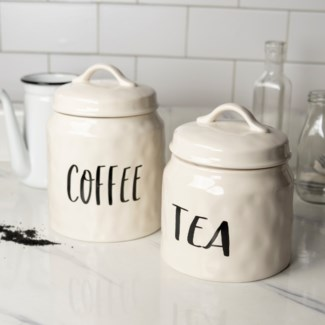 "CER. CANISTERS SET/2 ""COFFEE/TEA"" (Available Jan 2019)"