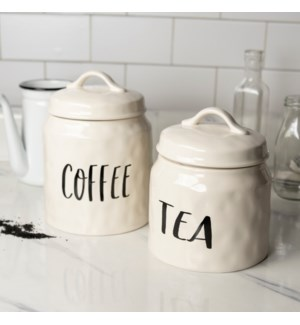 "CER. CANISTERS SET/2 ""COFFEE/TEA"""
