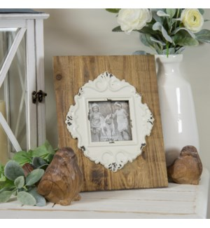 WD. TABLETOP PICTURE FRAME W/ WHITE