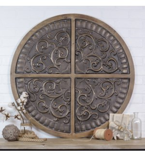 |WD/MTL EMBOSSED WALL DECOR|