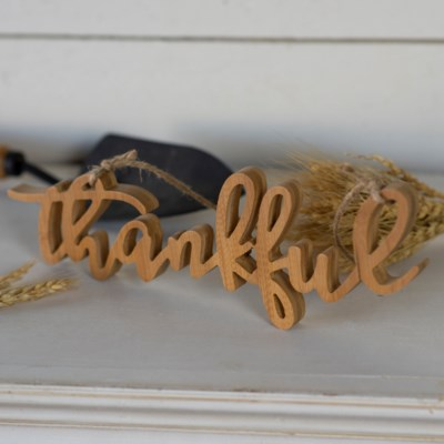 "WD. WORD ART ""THANKFUL"" (6/cs)"