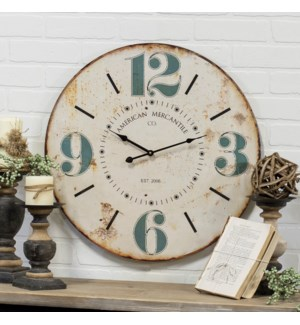 "WD. 23"" WALL CLOCK W/BLUE NUMBERS"