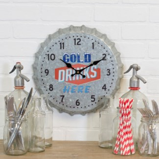 MTL. BOTTLE CAP WALL CLOCK (12/cs)