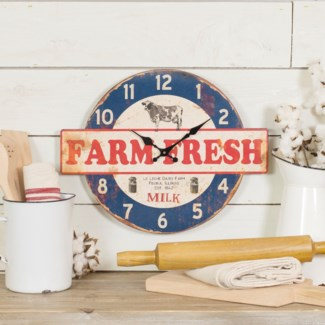 "WD. WALL CLOCK ""FARM FRESH"" (8/cs)"