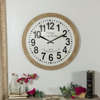 MTL./WD. WALL CLOCK (2/cs)