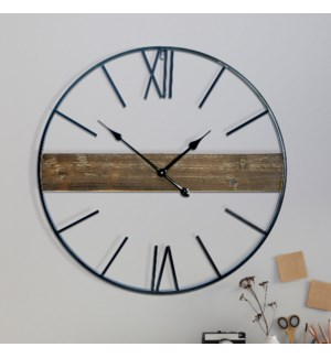 MTL. FRAMED CLOCK W/ WOOD CENTER