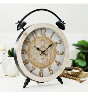 MTL. LG TABLE CLOCK BRN