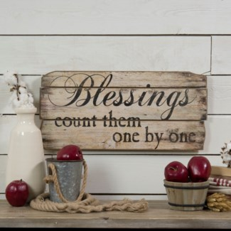 "BLESSINGS"" WOOD SIGN (12/cs)"