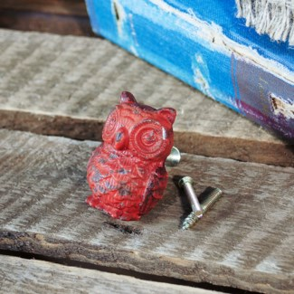 |OWL DRAWER PULL - RED  (100/cs)|