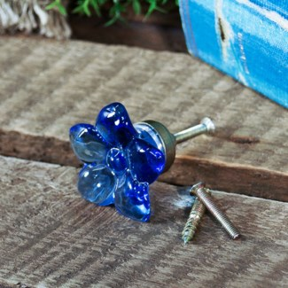 |ACRYLIC FLOWER DRAWER PULL BLUE (96/cs)|