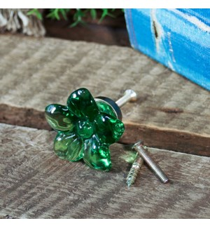 |RESIN GREEN FLOWER KNOB|