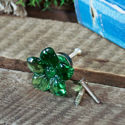 |RESIN GREEN FLOWER KNOB (96/cs)|