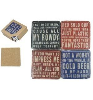 |RESIN SET OF 4 COASTERS|