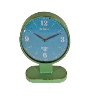 |MTL. ROUND CLOCK ON STAND - GREEN|