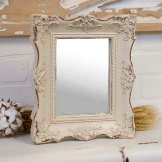 |RESIN FRAMED DECORATIVE MIRROR WHITE (12/cs)|