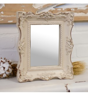 |RESIN FRAMED DECORATIVE MIRROR WHITE|