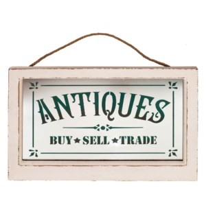 "|WD. FRAMED GLASS SIGN ""ANTIQUES""