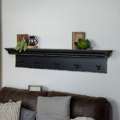 "WD. SHELF 60"" W/ HOOKS BLK (1/cs)"