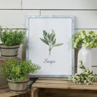 "MTL. FRAMED SIGN ""SAGE"" (12/cs)"