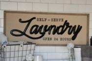"WD. SIGN ""SELF SERVE LAUNDRY"" (4/cs)"